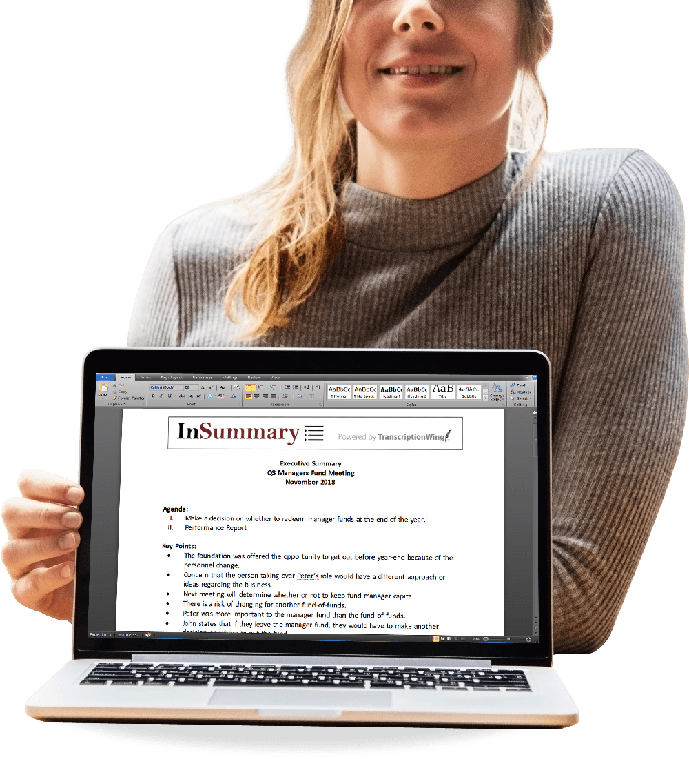general transcription services and audio transcriptions