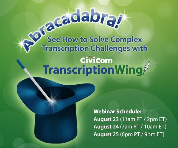 Overcome Transcription Challenges with TranscriptionWing in New Civicom Webinar