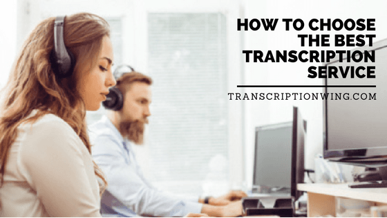 person on computer transcribing with text how to choose the best transcription service