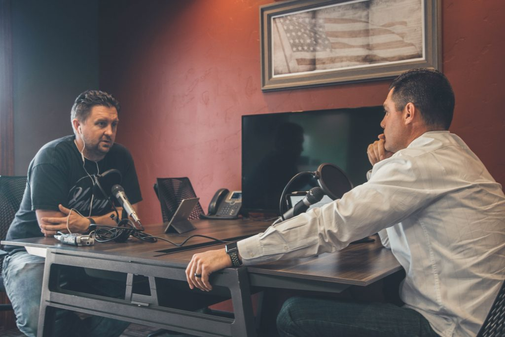 you can record a podcast interview with professional microphones and recorders